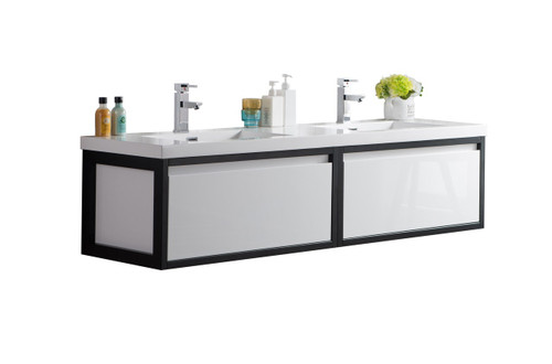 """Lake 72"""" Glossy White Wall Hung Modern Bathroom Vanity with Matte Black Stainless Steel Frame with Acrylic Sink"""