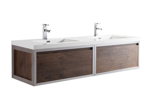 """Lake 72"""" Rosewood Wall Hung Modern Bathroom Vanity with Chrome Stainless Steel Frame with Acrylic Sink"""