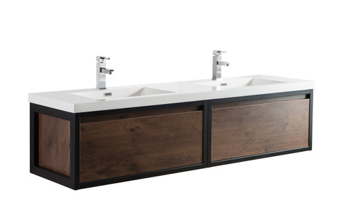 """Lake 72"""" Rosewood Wall Hung Modern Bathroom Vanity with Matte Black Stainless Steel Frame with Acrylic Sink"""