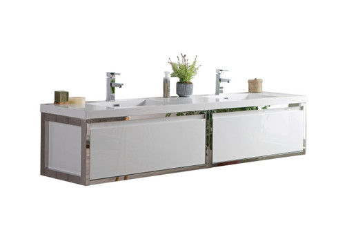"""Lake 84"""" Glossy White Wall Hung Modern Bathroom Vanity with Chrome Stainless Steel Frame with Acrylic Sink"""
