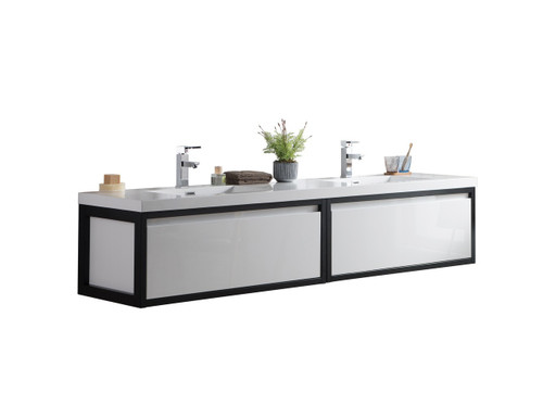 """Lake 84"""" Glossy White Wall Hung Modern Bathroom Vanity with Matte Black Stainless Steel Frame with Acrylic Sink"""