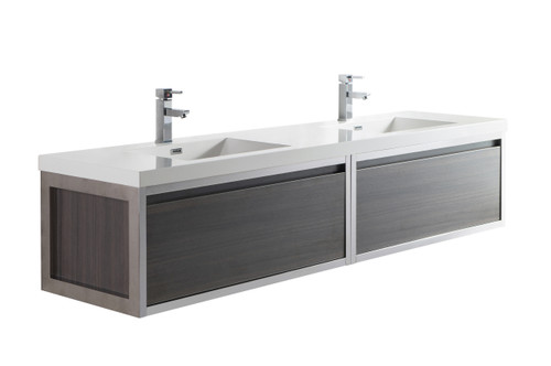 """Lake 84"""" Grey Oak Wall Hung Modern Bathroom Vanity with Chrome Stainless Steel Frame with Acrylic Sink"""