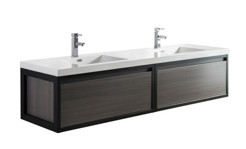 """Lake 84"""" Grey Oak Wall Hung Modern Bathroom Vanity with Matte Black Stainless Steel Frame with Acrylic Sink"""