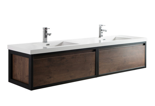 """Lake 84"""" Rosewood Wall Hung Modern Bathroom Vanity with Matte Black Stainless Steel Frame with Acrylic Sink"""