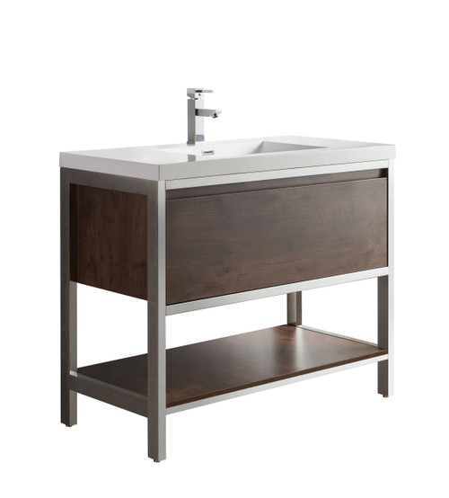 """Lake 42"""" Rosewood Free Standing Modern Bathroom Vanity with Chrome Stainless Steel Frame with Acrylic Sink"""