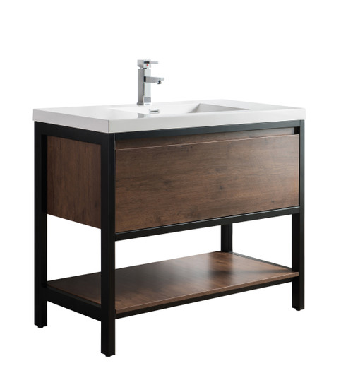 """Lake 42"""" Rosewood Free Standing Modern Bathroom Vanity with Matte Black Stainless Steel Frame with Acrylic Sink"""