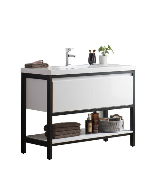 """Lake 48"""" Glossy White Free Standing Modern Bathroom Vanity with Matte Black Stainless Steel Frame with Acrylic Sink"""