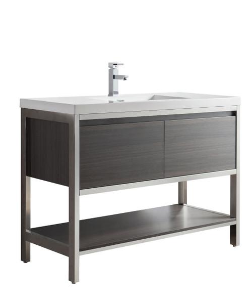 """Lake 48"""" Grey Oak Free Standing Modern Bathroom Vanity with Chrome Stainless Steel Frame with Acrylic Sink"""