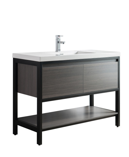"Lake 48"" Grey Oak Free Standing Modern Bathroom Vanity with Matte Black Stainless Steel Frame with Acrylic Sink"