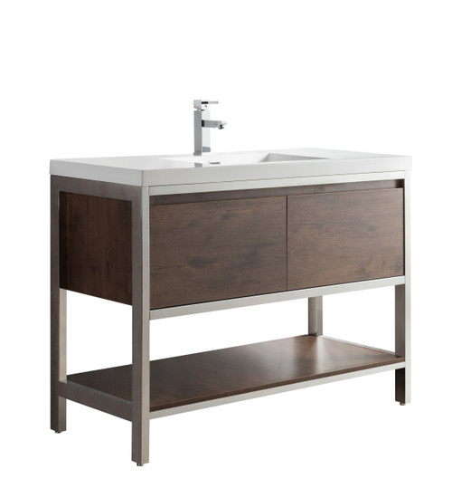 """Lake 48"""" Rosewood Free Standing Modern Bathroom Vanity with Chrome Stainless Steel Frame with Acrylic Sink"""