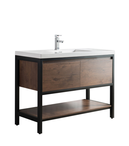 """Lake 48"""" Rosewood Free Standing Modern Bathroom Vanity with Matte Black Stainless Steel Frame with Acrylic Sink"""