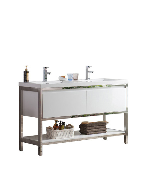 "Lake 60"" Glossy White Free Standing Modern Bathroom Vanity with Chrome Stainless Steel Frame with Acrylic Sink"