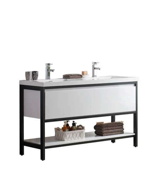 "Lake 60"" Glossy White Free Standing Modern Bathroom Vanity with Matte Black Stainless Steel Frame with Acrylic Sink"