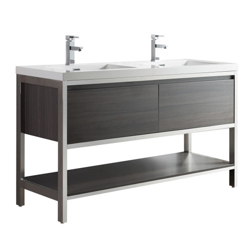 """Lake 60"""" Grey Oak Free Standing Modern Bathroom Vanity with Chrome Stainless Steel Frame with Acrylic Sink"""
