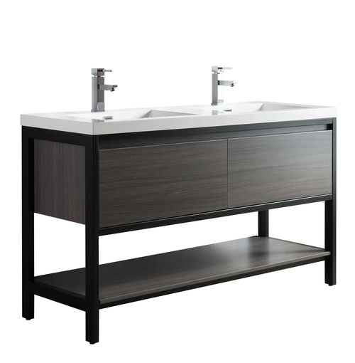 "Lake 60"" Grey Oak Free Standing Modern Bathroom Vanity with Matte Black Stainless Steel Frame with Acrylic Sink"