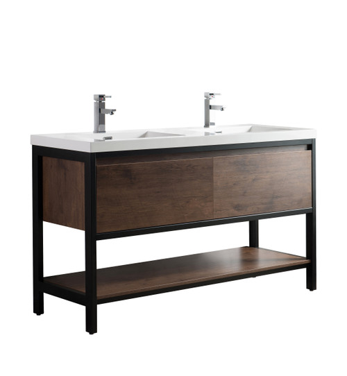 """Lake 60"""" Rosewood Free Standing Modern Bathroom Vanity with Matte Black Stainless Steel Frame with Acrylic Sink"""