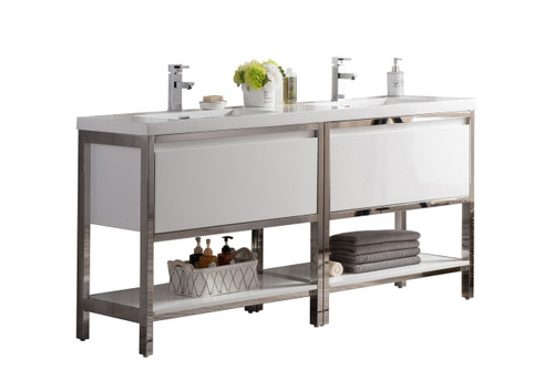 """Lake 72"""" Glossy White Free Standing Modern Bathroom Vanity with Chrome Stainless Steel Frame with Acrylic Sink"""