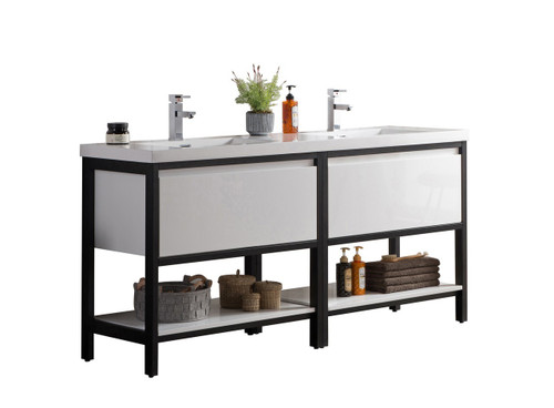 """Lake 72"""" Glossy White Free Standing Modern Bathroom Vanity with Matte Black Stainless Steel Frame with Acrylic Sink"""