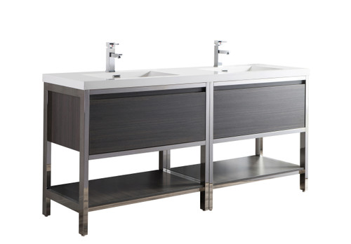 """Lake 72"""" Grey Oak Free Standing Modern Bathroom Vanity with Chrome Stainless Steel Frame with Acrylic Sink"""