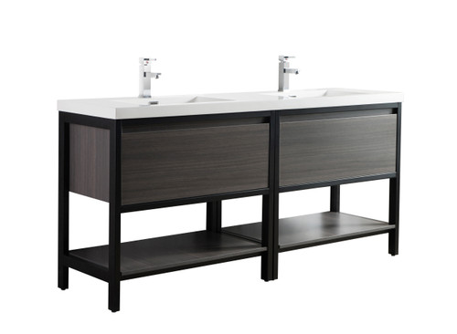 "Lake 72"" Grey Oak Free Standing Modern Bathroom Vanity with Matte Black Stainless Steel Frame with Acrylic Sink"