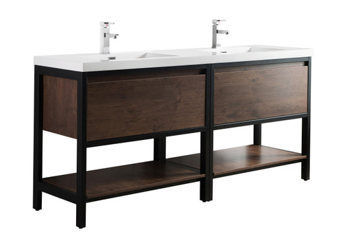 """Lake 72"""" Rosewood Free Standing Modern Bathroom Vanity with Matte Black Stainless Steel Frame with Acrylic Sink"""
