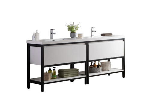 """Lake 84"""" Glossy White Free Standing Modern Bathroom Vanity with Matte Black Stainless Steel Frame with Acrylic Sink"""