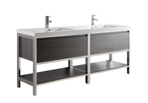 """Lake 84"""" Grey Oak Free Standing Modern Bathroom Vanity with Chrome Stainless Steel Frame with Acrylic Sink"""