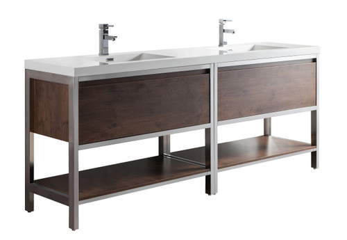 """Lake 84"""" Rosewood Free Standing Modern Bathroom Vanity with Chrome Stainless Steel Frame with Acrylic Sink"""