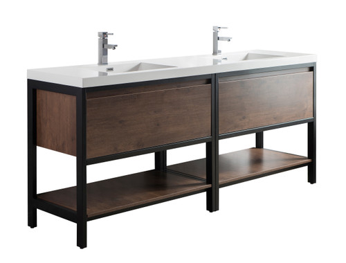 """Lake 84"""" Rosewood Free Standing Modern Bathroom Vanity with Matte Black Stainless Steel Frame with Acrylic Sink"""