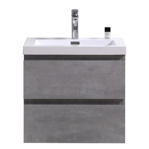 "MORENO MOB 24"" CONCRETE GREY WALL MOUNTED MODERN BATHROOM VANITY WITH REEINFORCED ACRYLIC SINK"