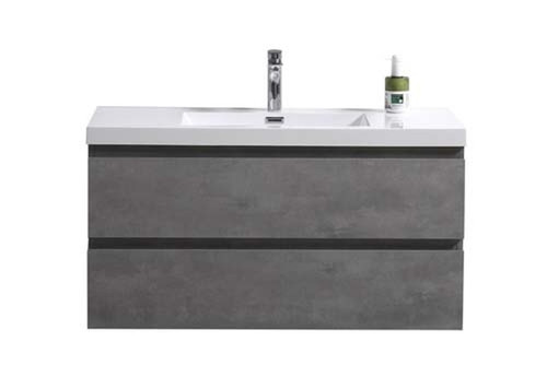 "MORENO MOB 42"" CONCRETE GREY WALL MOUNTED MODERN BATHROOM VANITY WITH REEINFORCED ACRYLIC SINK"