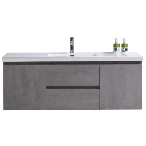 "MORENO MOB 60"" SINGLE SINK CONCRETE GREY WALL MOUNTED MODERN BATHROOM VANITY WITH REEINFORCED ACRYLIC SINK"