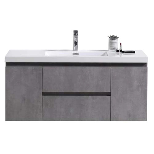 "MORENO MOB 48"" CONCRETE GREY WALL MOUNTED MODERN BATHROOM VANITY WITH REEINFORCED ACRYLIC SINK"