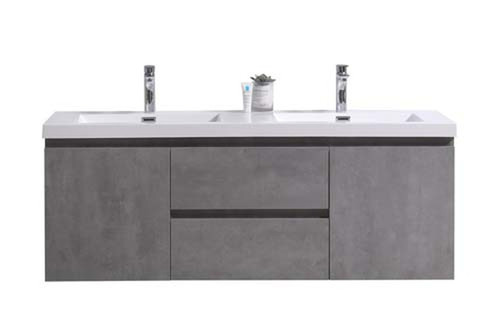 "MORENO MOB 60"" DOUBLE SINK CONCRETE GREY WALL MOUNTED MODERN BATHROOM VANITY WITH REEINFORCED ACRYLIC SINK"