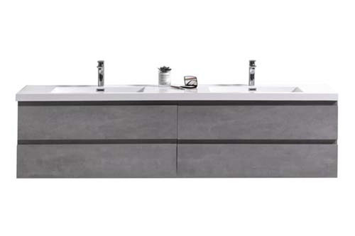 "MORENO MOB 84"" DOUBLE SINK CONCRETE GREY WALL MOUNTED MODERN BATHROOM VANITY WITH REEINFORCED ACRYLIC SINK"