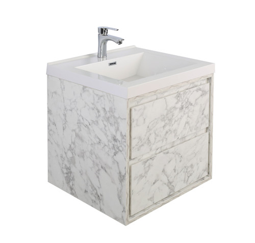 "Molly 24"" Marble Grey Wall Mounted Modern Vanity"