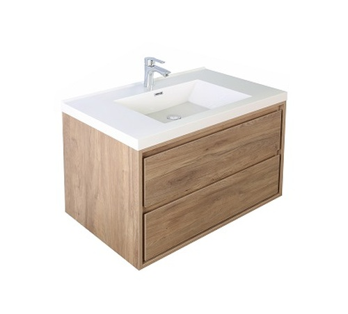 "Molly 30"" Teak Oak Wall Mounted Modern Vanity"