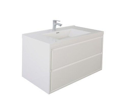 "Molly 36"" High Gloss White Wall Mounted Modern Vanity"
