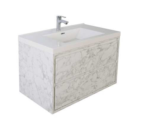 "Molly 36"" Marble Grey Wall Mounted Modern Vanity"