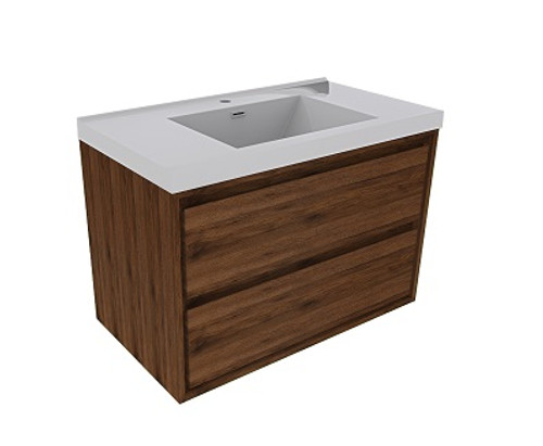 """Molly 36"""" Rosewood Wall Mounted Modern Vanity"""