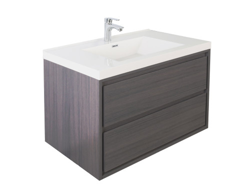 "Molly 42"" Grey Oak Wall Mounted Modern Vanity"