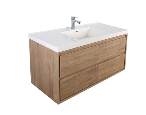 "Molly 48"" Single Sink Teak Oak Wall Mounted Modern Vanity"