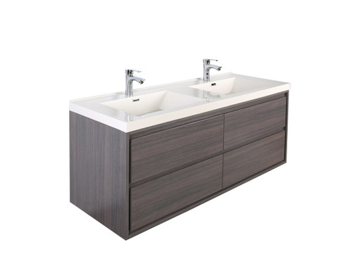 "Molly 60"" Double Sink Grey Oak Wall Mounted Modern Vanity"