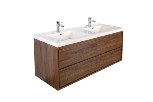 """Molly 60"""" Double Sink Rosewood Wall Mounted Modern Vanity"""