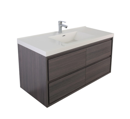 "Molly 60"" Single Sink Grey Oak Wall Mounted Modern Vanity"
