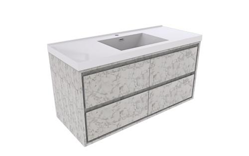 "Molly 60"" Single Sink Marble Grey Wall Mounted Modern Vanity"