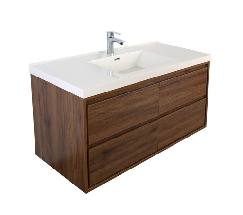 "Molly 60"" Single Sink Rosewood Wall Mounted Modern Vanity"