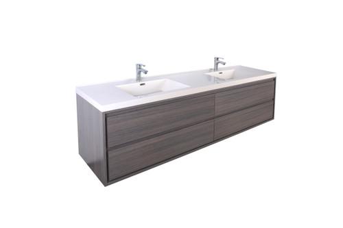 """Molly 72"""" Double Sink Grey Oak Wall Mounted Modern Vanity"""