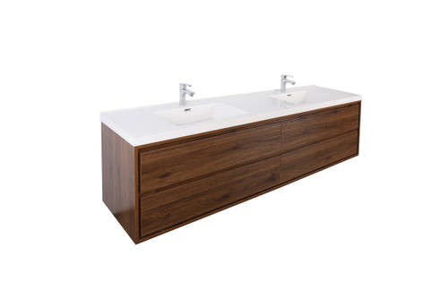 """Molly 72"""" Double Sink Rosewood Wall Mounted Modern Vanity"""