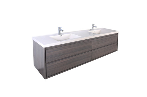 "Molly 84"" Double Sink Grey Oak Wall Mounted Modern Vanity"